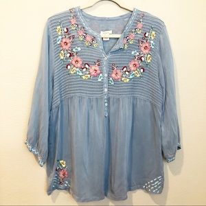 Sundance Floral Embroidered Blouse